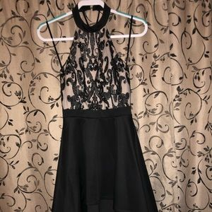 Backless Black Sequence Dress